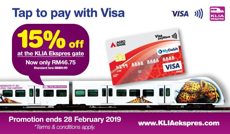 Potongan 15% KLIA Ekspres dengan VISA 'Tap & Pay'