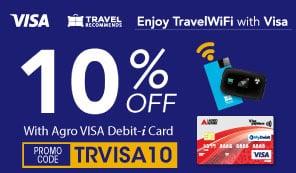 Nikmati potongan sehingga 10% untuk TravelWifi bersama VISA