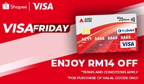Visa Friday at Shopee – Enjoy RM14 off at Shopee on Fridays with minimum spend of RM150